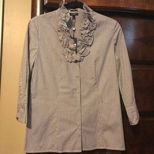 Talbots Navy and White Striped Button Down Size 6